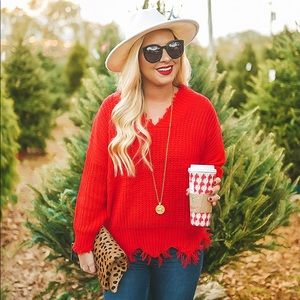 Sweaters - Red V-Neck Distressed Sweater